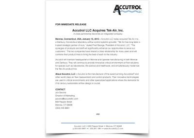 Press Release – Company Acquisition